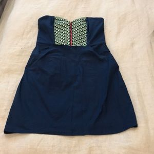 Sweetheart Neckline Mini Dress - Aztec Embroidery